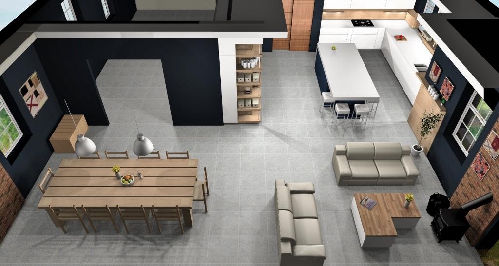 white kitchen design overhead view