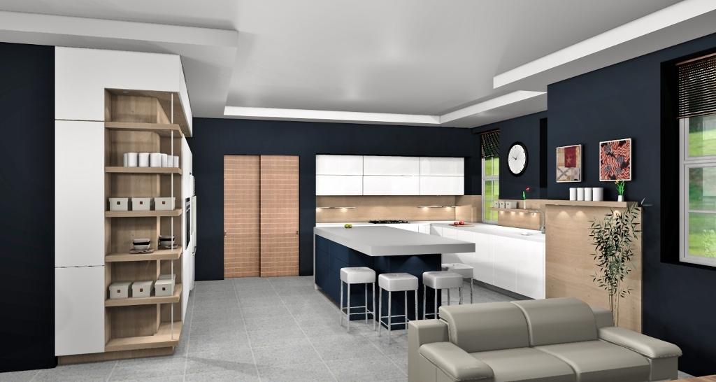 kitchen design showing cieling detail