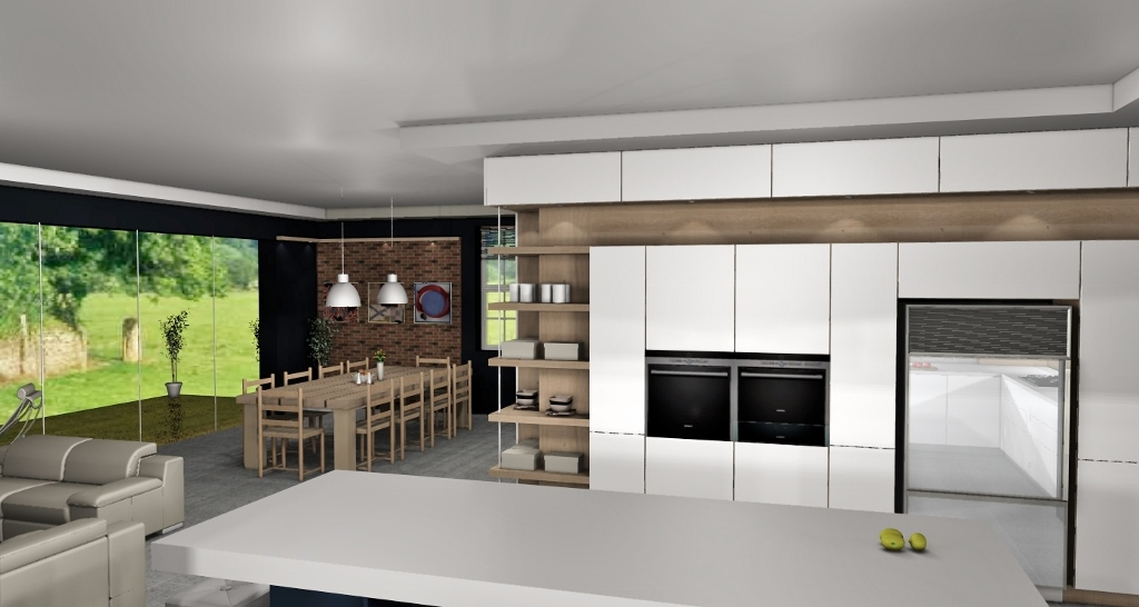 white open plan kitchen design