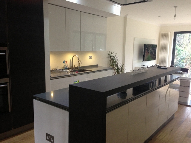 Polar white kitchen with island