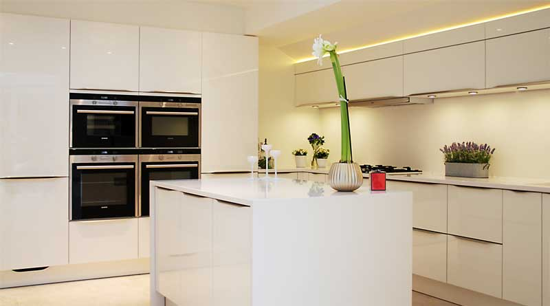 White Kitchen Worktops high gloss white kitchen with white quartz worktops, haywards heath