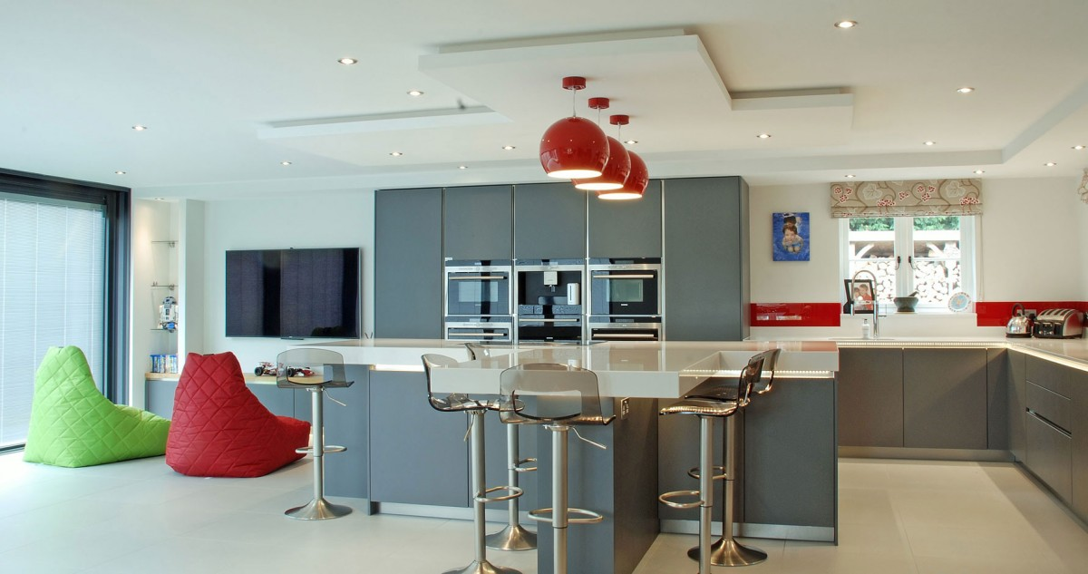 handleless grey satin kitchen
