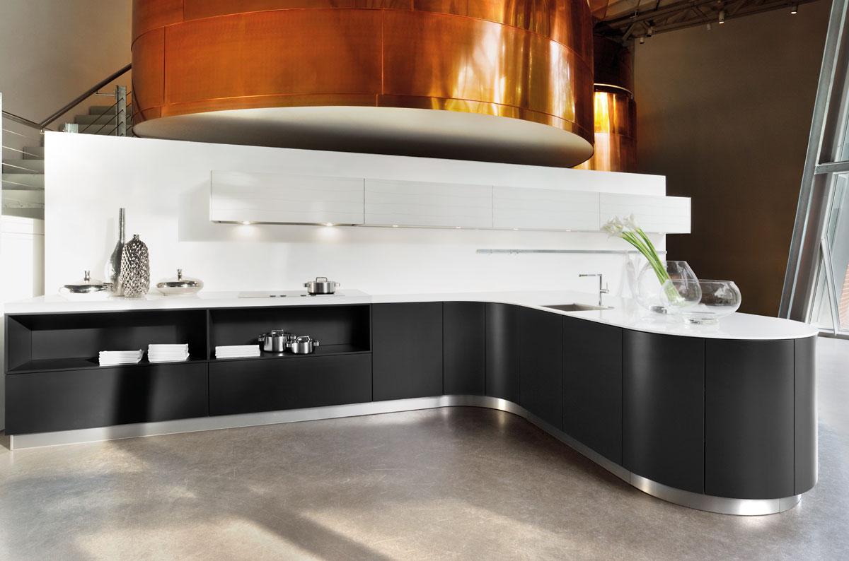 curved black kitchen  Black Rok Kitchen Design Uckfield and