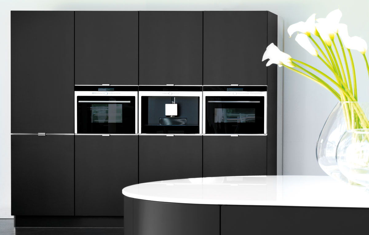 matt black kitchen tall units black rok kitchen design