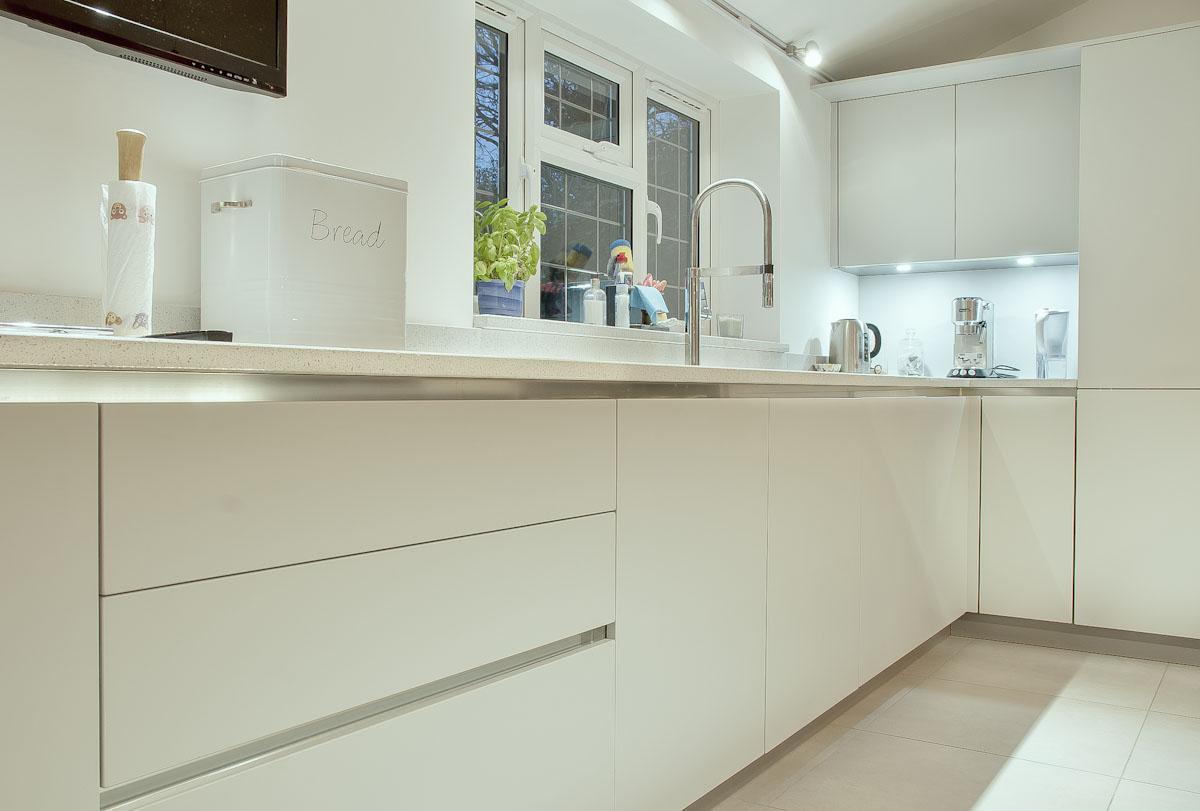 light grey quartz with sink sink Framfield