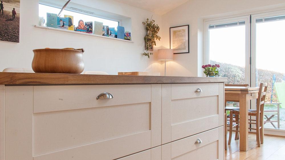 White Kitchen Light Wood Worktop
