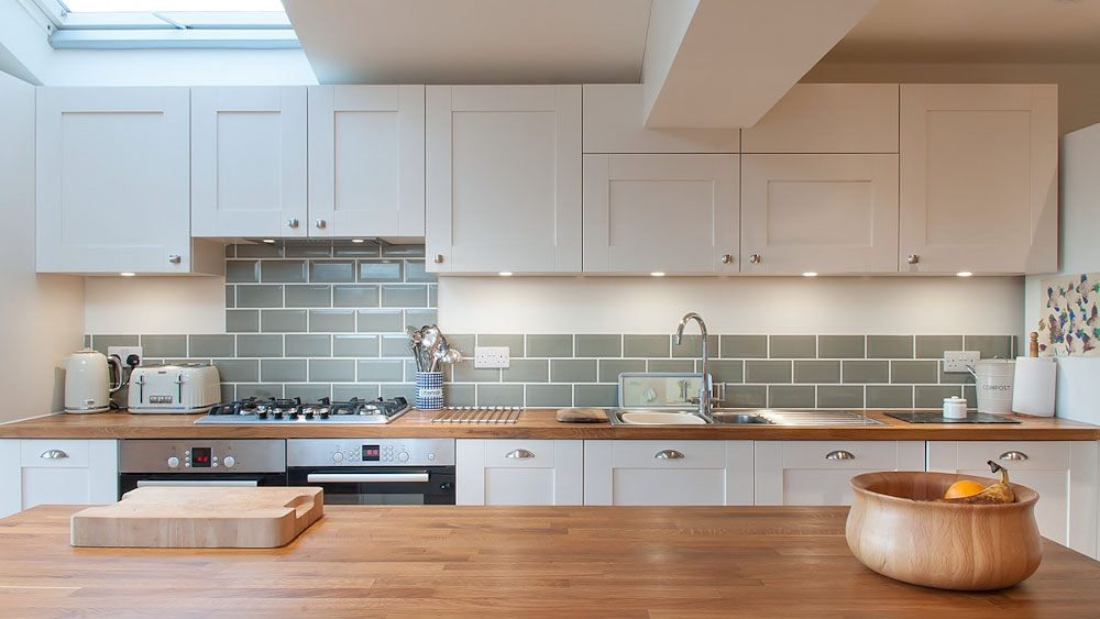Kitchen With Grey Tiles