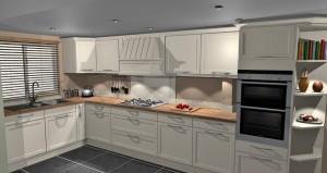 white kitchen wooden worktop