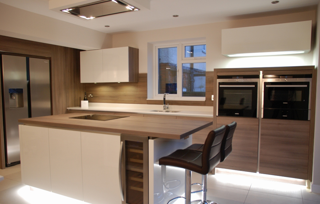White High Gloss Kitchen Grey Acacia Panelling In Brighton