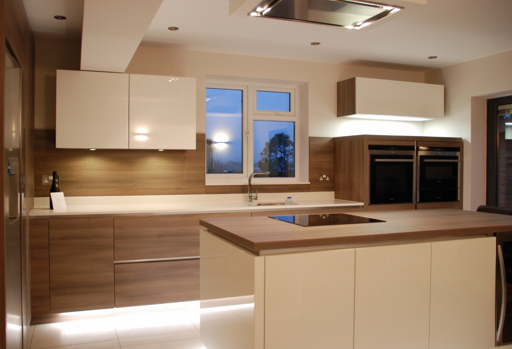 White High Gloss Kitchen Grey Acacia Panelling In Brighton - Grey and white gloss kitchen