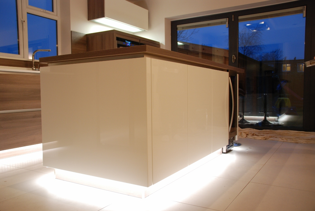 strip lights for kitchens white high gloss kitchen grey acacia panelling in brighton 5908