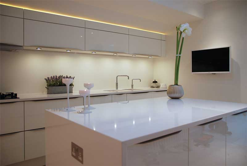 luxury white gloss lacquer kitchen with island