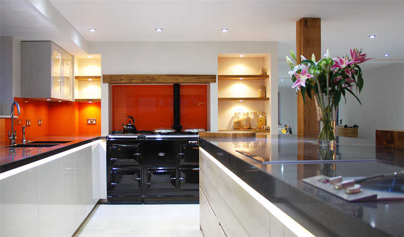 Aga, sinks and kitchen island
