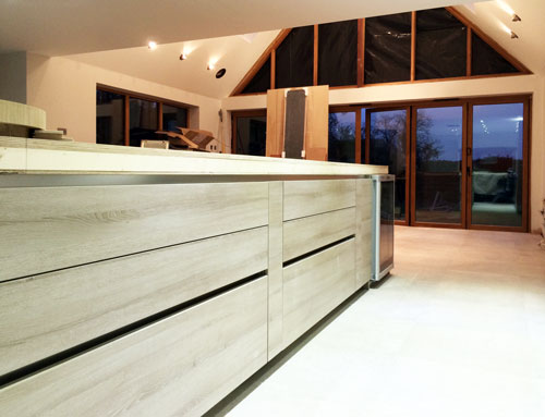 Kitchen island from low viewpoint