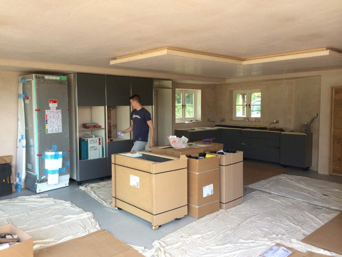 initial stages kitchen installation