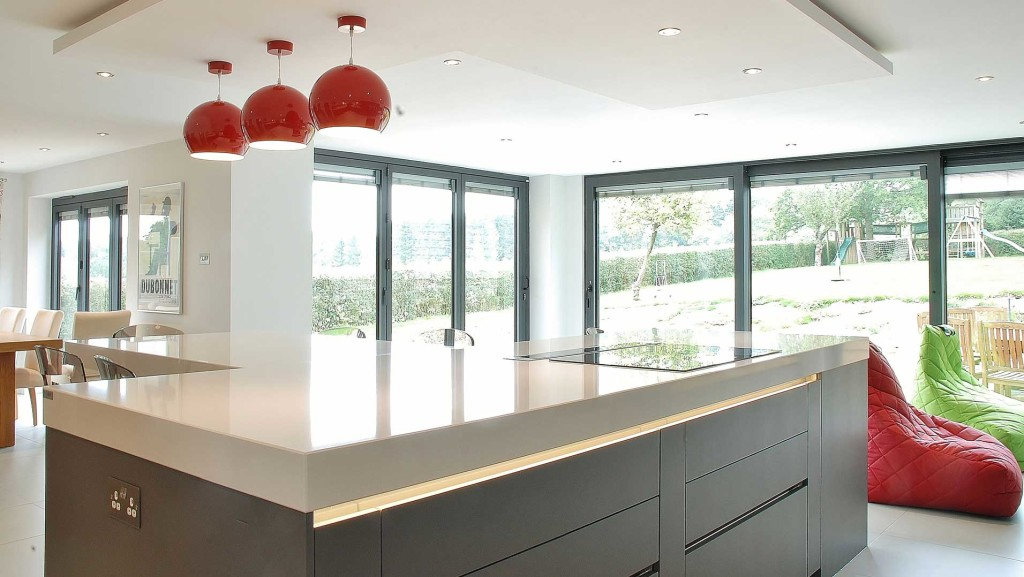 kitchen island showing extent of natural lighting