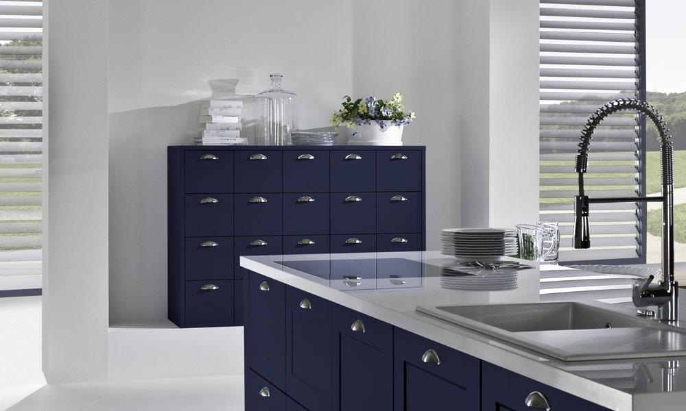 Dark blue shaker kitchen style for Kitchen design uckfield