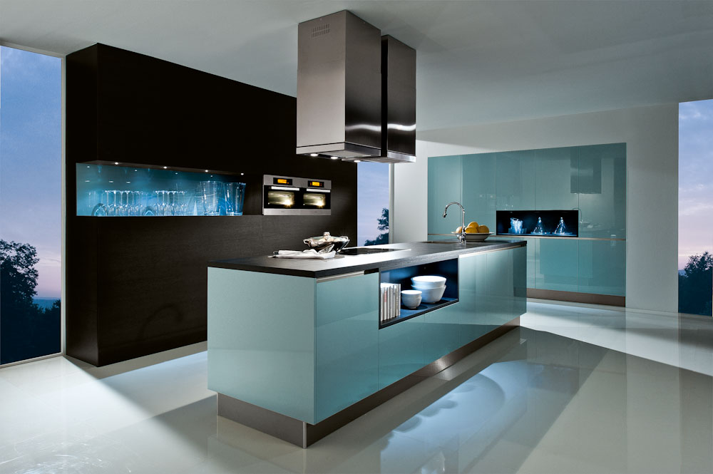 steel blue german kitchen