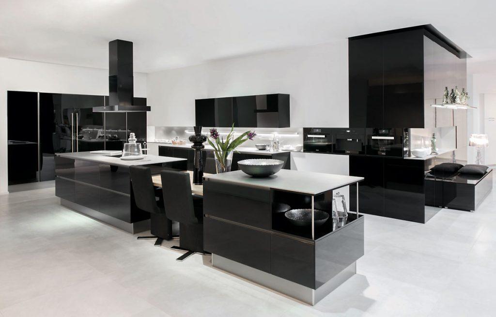 black kitchen with island