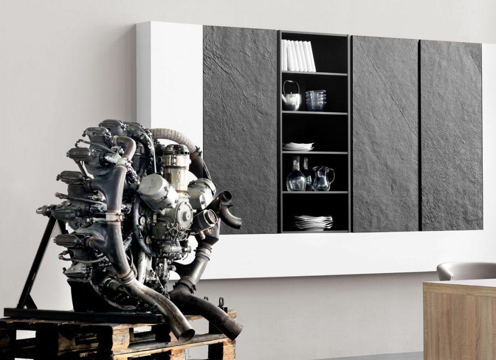 black stone effect kitchen wall unit