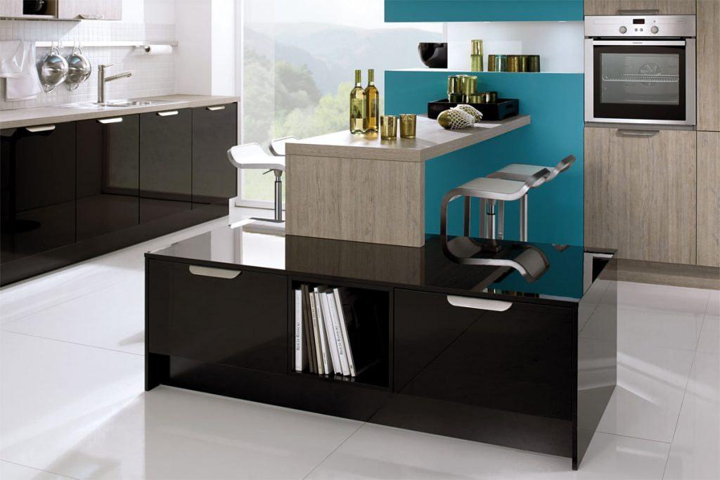 high gloss black with teal kitchen