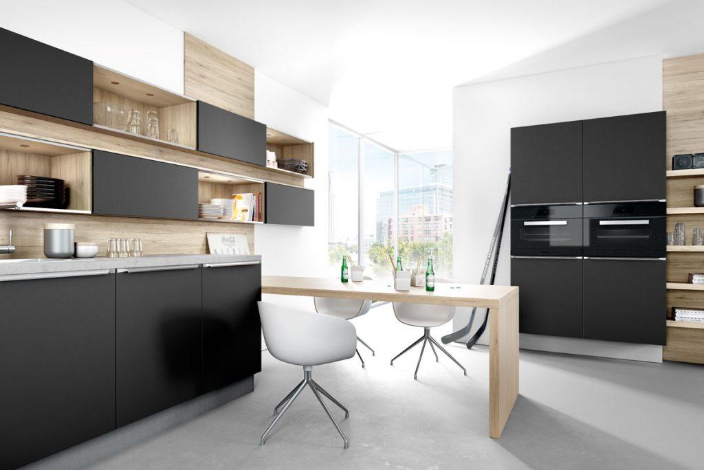 matt black kitchen with wood