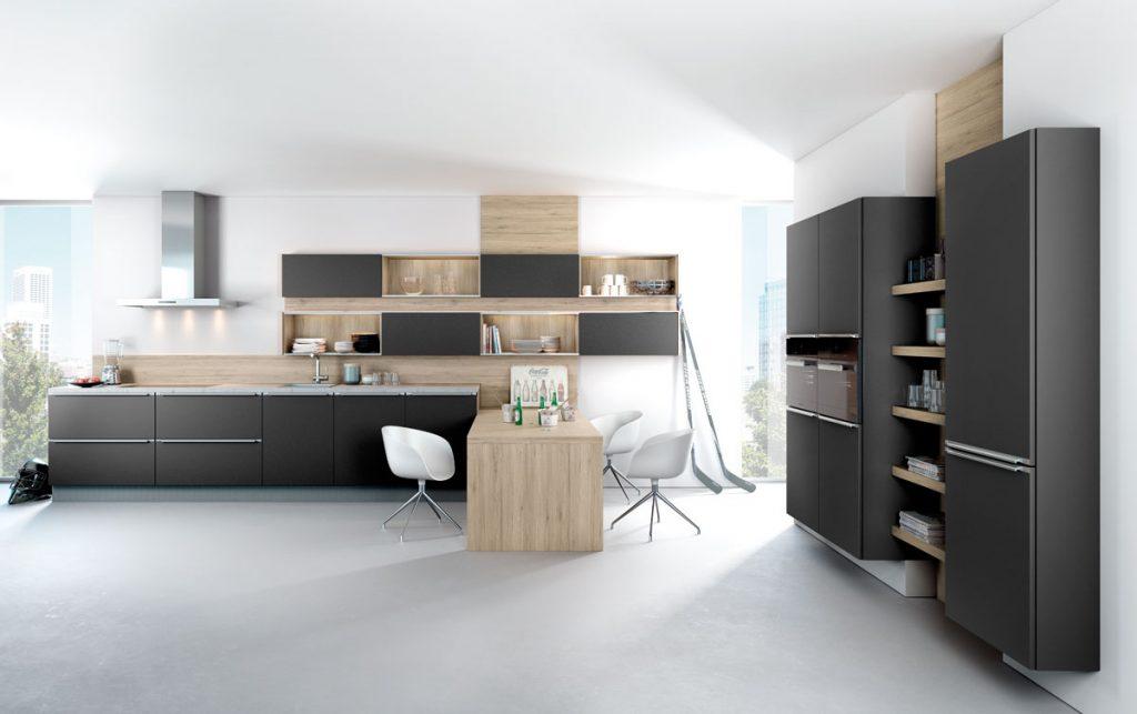 modern matt black kitchen with wood