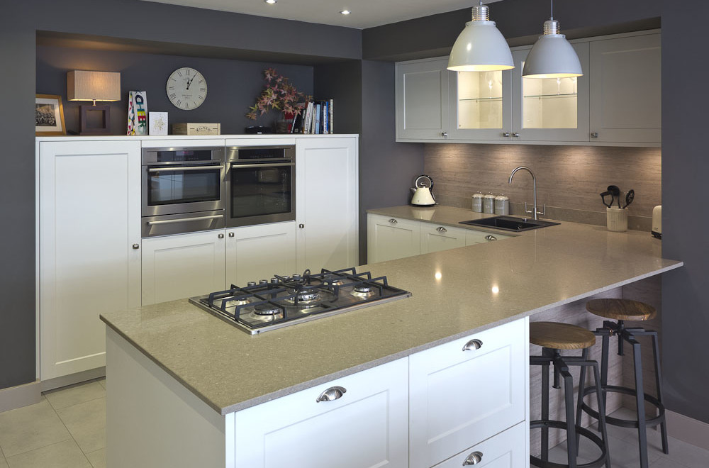 white shaker kitchen heathfield showroom