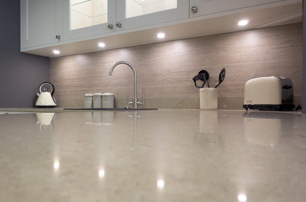 Quartz kitchen worktop on shaker kitchen