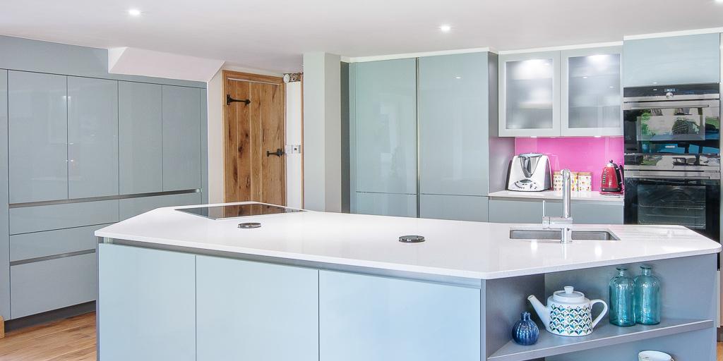Blue gloss kitchen with island edenbridge for Kitchen design uckfield