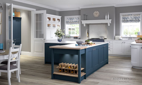 white windsor blue traditional kitchen