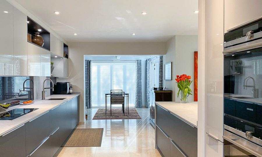 graphite matt kitchen view to doors