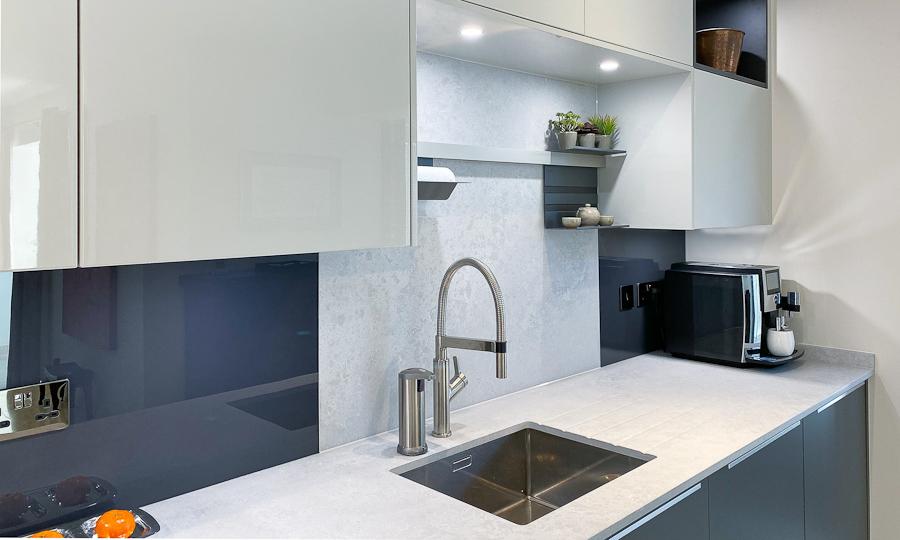 graphite matt kitchen sink area