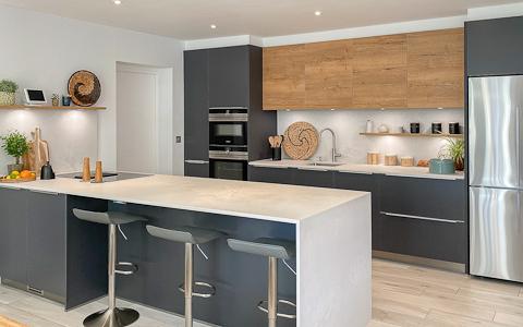 matt graphite and vintage oak kitchen with cloudburst concrete quartz worktops